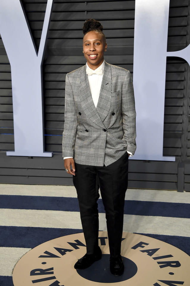 <p>The <em>Master of None</em> and <em>The Chi</em> star suited up for the occasion. (Photo: Evan Agostini/Invision/AP) </p>