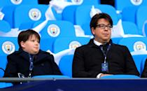 Michael McIntyre (right) in the stands during the UEFA Champions League quarter final second leg match at the Etihad Stadium, Manchester.