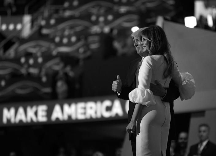 <p>Donald Trump with his wife, Melania, after she spoke at the Republican National Convention on Monday. (Photo: Khue Bui for Yahoo News)</p>