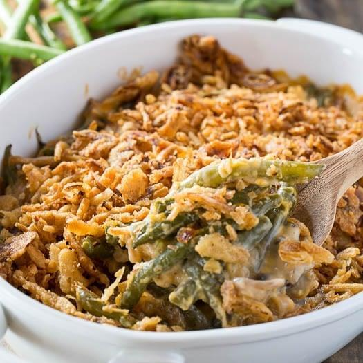 """<p>Why not add cheese to your casserole? You can't go wrong.</p> <p><b>Get the recipe:</b> <a href=""""https://spicysouthernkitchen.com/cheesy-green-bean-casserole/"""" class=""""link rapid-noclick-resp"""" rel=""""nofollow noopener"""" target=""""_blank"""" data-ylk=""""slk:cheesy green bean casserole"""">cheesy green bean casserole</a></p>"""