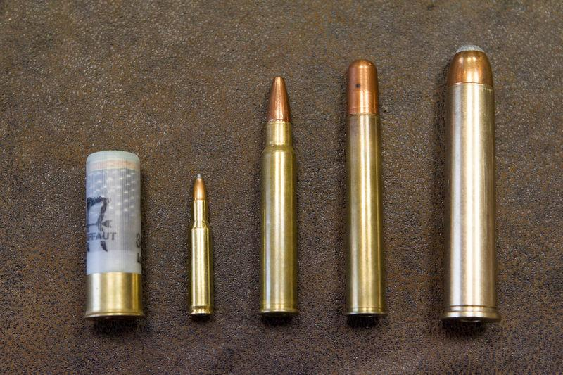 A view shows differents ammunitions for hunting rifles caliber 12, 222 remington, 375 RVC, 500 NE and 700 NE in the Verney-Carron factory