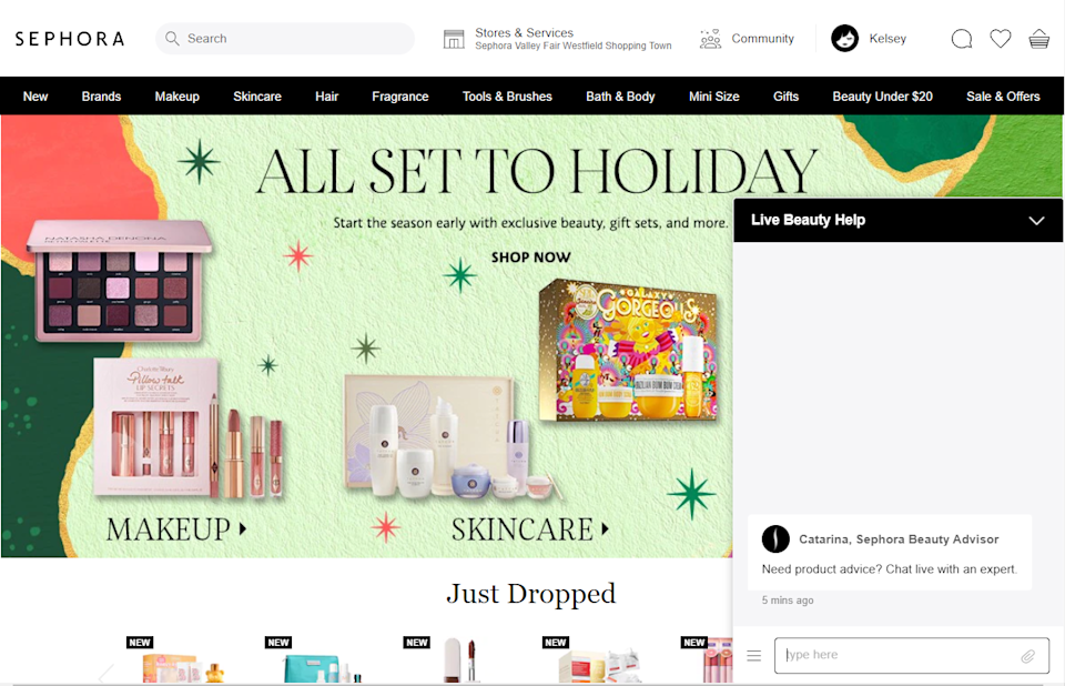 Customers can get live chat assistance from beauty advisers on Sephora's website and mobile app