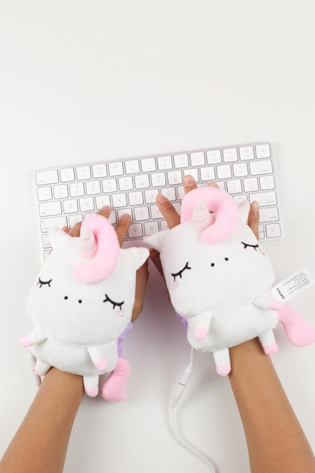 "<p>We love these <a href=""https://www.popsugar.com/buy/Angie-Unicorn-USB-Wired-Handwarmers-359187?p_name=Angie%20Unicorn%20USB%20Wired%20Handwarmers&retailer=smokonow.com&pid=359187&price=35&evar1=tres%3Aus&evar9=45180102&evar98=https%3A%2F%2Fwww.popsugar.com%2Flove%2Fphoto-gallery%2F45180102%2Fimage%2F45180104%2FSmoko-Angie-Unicorn-USB-Wired-Handwarmers&list1=shopping%2Cfall%2Chome%20decor%2Coffice%2Cwinter%2Coffice%20products%2Chome%20shopping&prop13=api&pdata=1"" rel=""nofollow"" data-shoppable-link=""1"" target=""_blank"" class=""ga-track"" data-ga-category=""Related"" data-ga-label=""http://www.smokonow.com/collections/new/products/angie-unicorn-usb-handwarmers"" data-ga-action=""In-Line Links"">Angie Unicorn USB Wired Handwarmers</a> ($35) from Smoko. These are perfect for those chilly days at your desk - just slip them on, adjust the strap as snugly as you would like, and connect your USB port. This pair also lets you customize your heat level from low to high.</p>"