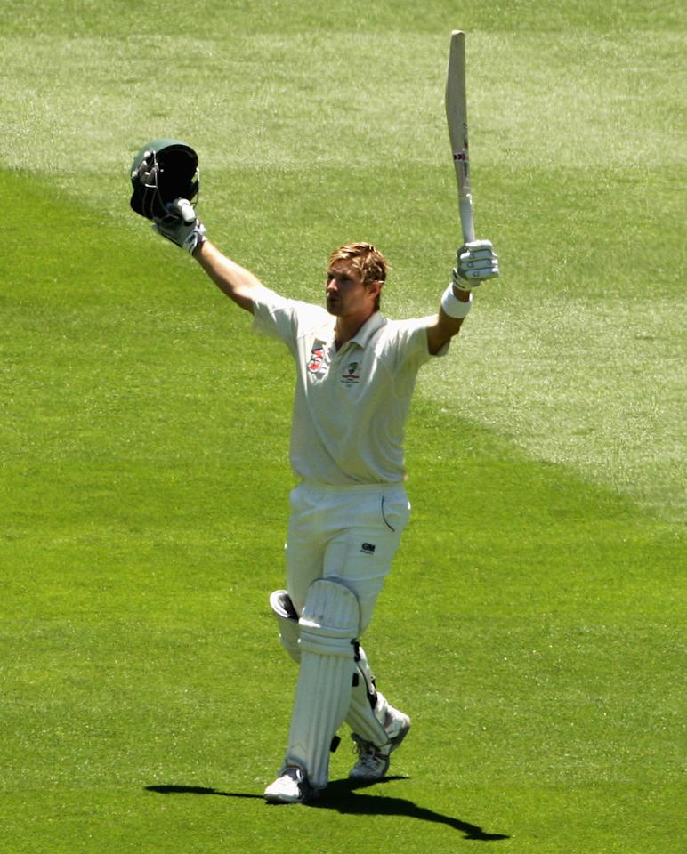 MELBOURNE, AUSTRALIA - DECEMBER 29:  Shane Watson of Australia celebrates his century during day four of the First Test match between Australia and Pakistan at Melbourne Cricket Ground on December 29, 2009 in Melbourne, Australia.  (Photo by Mark Dadswell/Getty Images)