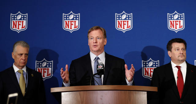 "Civil rights groups have reportedly urged Roger Goodell to change an anthem policy that "" <span>tells the world that the NFL does not care about racial justice.""</span> (AP)"