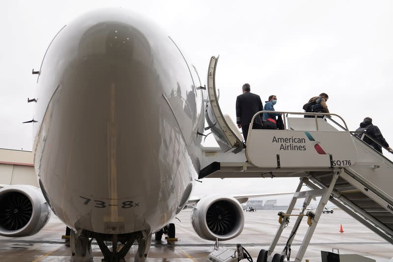 Passengers depart from a Boeing 737 Max airplane media flight from Dallas Fort Worth Airport to Tulsa