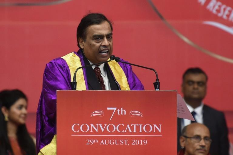 Reliance Industries -- which is owned by Mukesh Ambani, seen here -- reported a 15 percent fall in quarterly profit