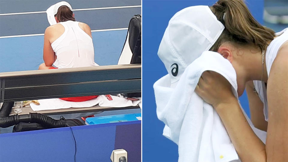 Iga Swiatek, pictured here sobbing into her towel after losing at the Olympics.