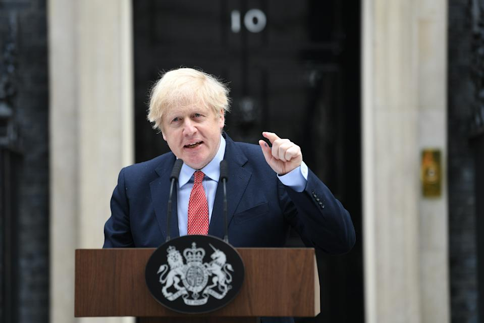 Prime Minister Boris Johnson makes a statement outside 10 Downing Street, London, as he resumes working after spending two weeks recovering from Covid-19.