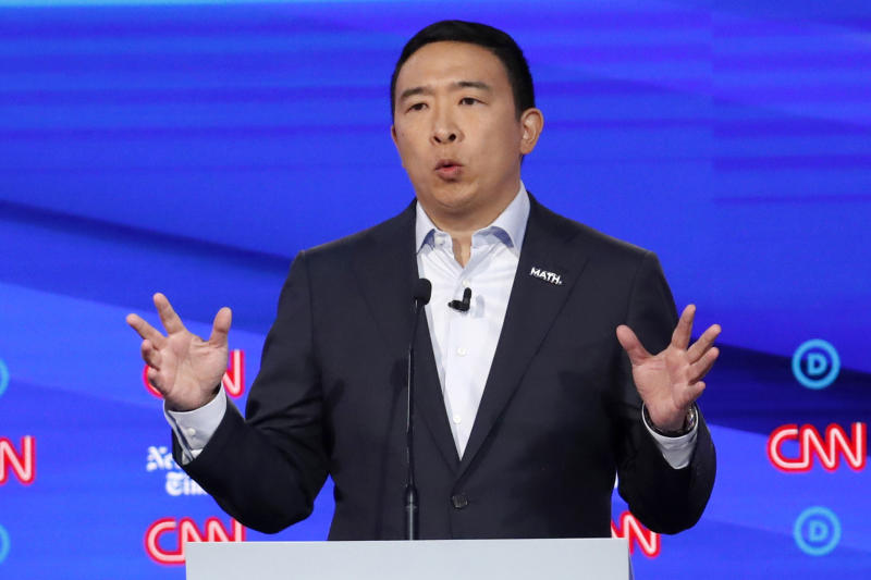 Democratic presidential candidate entrepreneur Andrew Yang speaks during a Democratic presidential primary debate hosted by CNN/New York Times at Otterbein University, Tuesday, Oct. 15, 2019, in Westerville, Ohio. (AP Photo/John Minchillo)