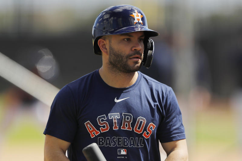 WEST PALM BEACH, FLORIDA - FEBRUARY 18: Jose Altuve #27 of the Houston Astros looks on during a team workout at FITTEAM Ballpark of The Palm Beaches on February 18, 2020 in West Palm Beach, Florida. (Photo by Michael Reaves/Getty Images)