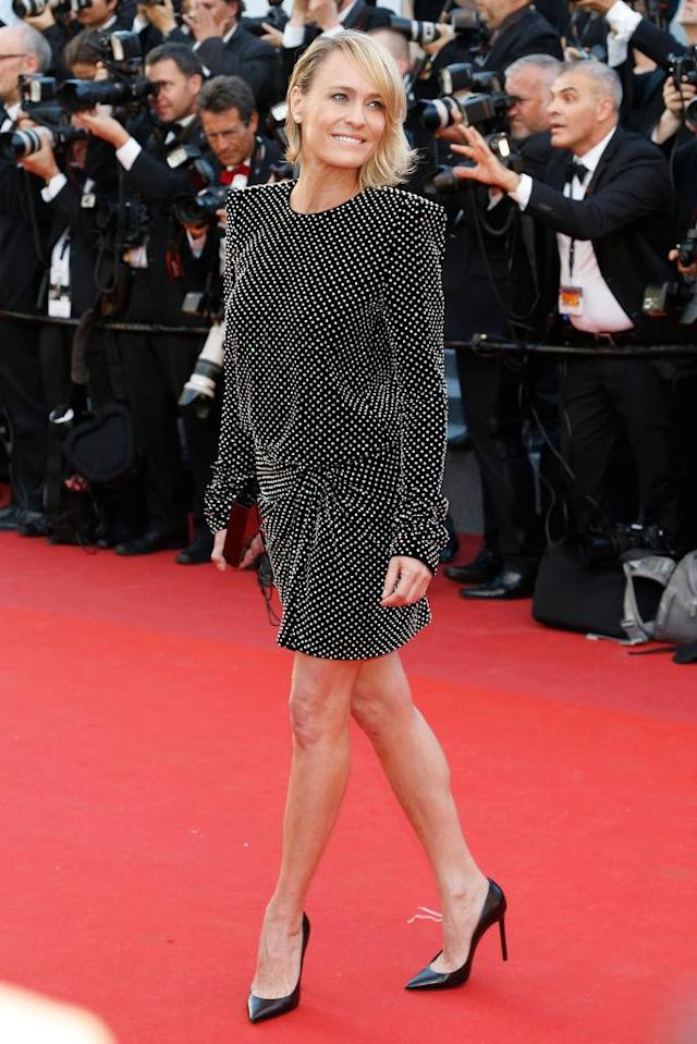 Robin Wright in Saint Laurent. (Photo: Getty Images)