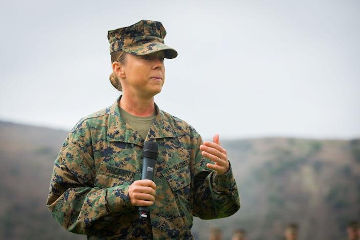 U.S. Marine Corps Lt. Col. Michelle I. Macander, incoming commanding officer of 1st Combat Engineer Battalion (CEB), 1st Marine Division, gives a speech during a change of command ceremony at Marine Corps Base Camp Pendleton, California, June 22, 2018. (Audrey C. M. Rampton/U.S. Marine Corps)