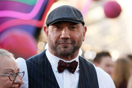 "Actor Dave Bautista poses at the world premiere of Marvel Studios' ""Guardians of the Galaxy Vol. 2."" in Hollywood, California"