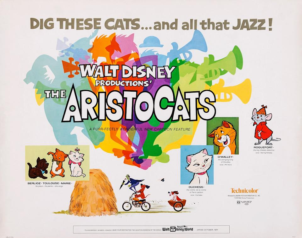 The Aristocats, poster, US poster art, from left: Berlioz, Toulouse, Marie, Duchess, O'Malley, Roquefort, 1970. (Photo by LMPC via Getty Images)