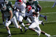 Rutgers running back Isaih Pacheco (1) rushes during the first half of an NCAA college football game against Michigan State, Saturday, Oct. 24, 2020, in East Lansing, Mich. (AP Photo/Carlos Osorio)