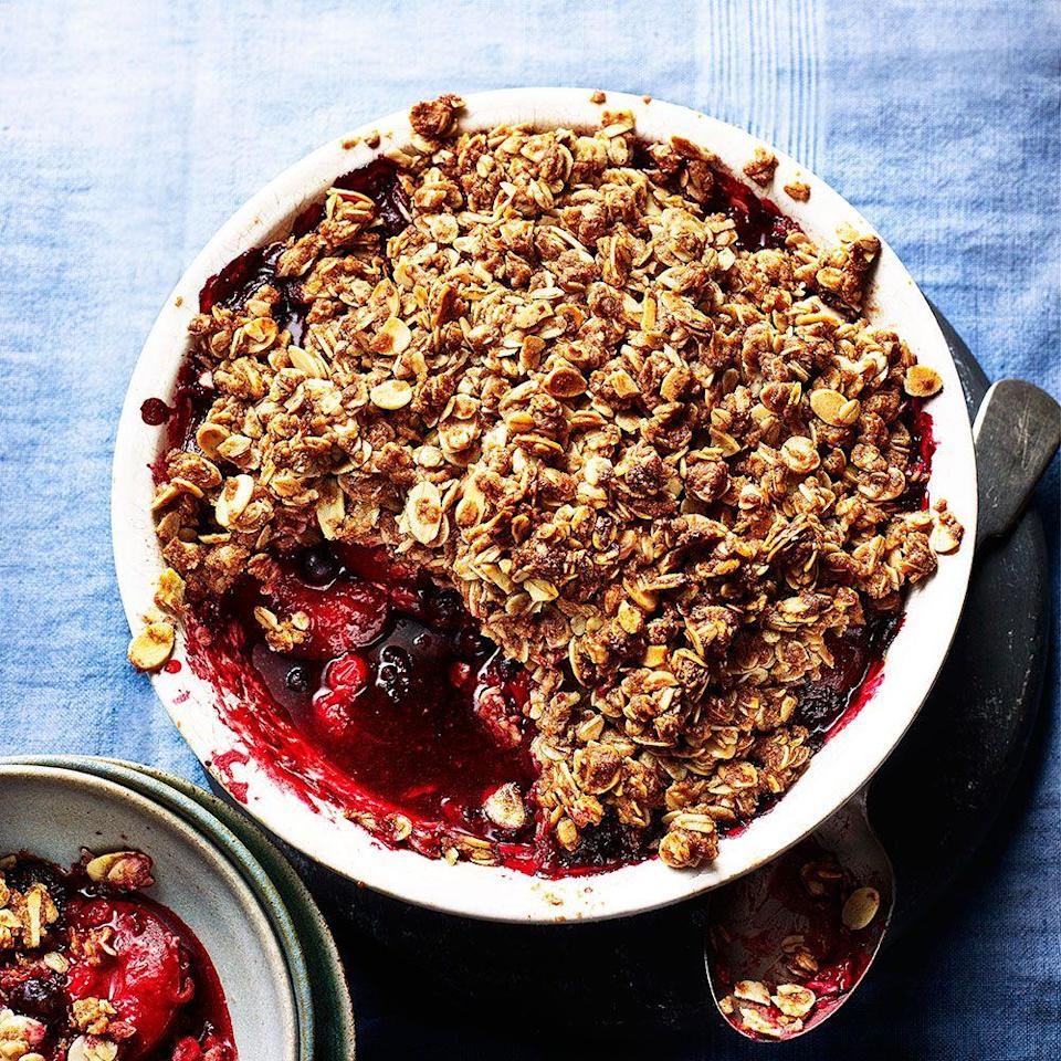 """<p>This crumble recipe uses the natural sweetness of the fruit with some maple syrup rather than the large amount of refined sugar found in a traditional crumble.</p><p><strong>Recipe: <a href=""""https://www.goodhousekeeping.com/uk/food/recipes/a575097/fruit-crumble/"""" rel=""""nofollow noopener"""" target=""""_blank"""" data-ylk=""""slk:Plum and berry flapjack crumble"""" class=""""link rapid-noclick-resp"""">Plum and berry flapjack crumble</a></strong></p>"""