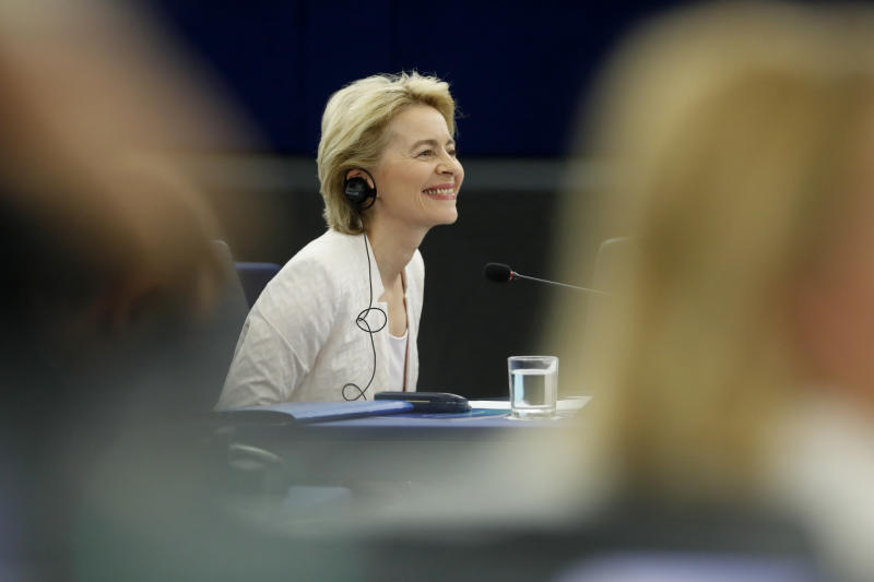 Ursula von der Leyen, the candidate to succeed Jean-Claude Juncker as head of the EU executive, smiles during a debate at the European Parliament in Strasbourg, eastern France, Tuesday July 16, 2019. Ursula von der Leyen is seeking to woo enough legislators at the European Parliament to secure the job of European Commission President in a secret vote late Tuesday. (AP Photo/Jean-Francois Badias)