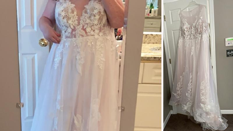 Image of bride wearing lace gown (left) and lace gown on hanger (right) after mother of bride says dress 'too revealing'