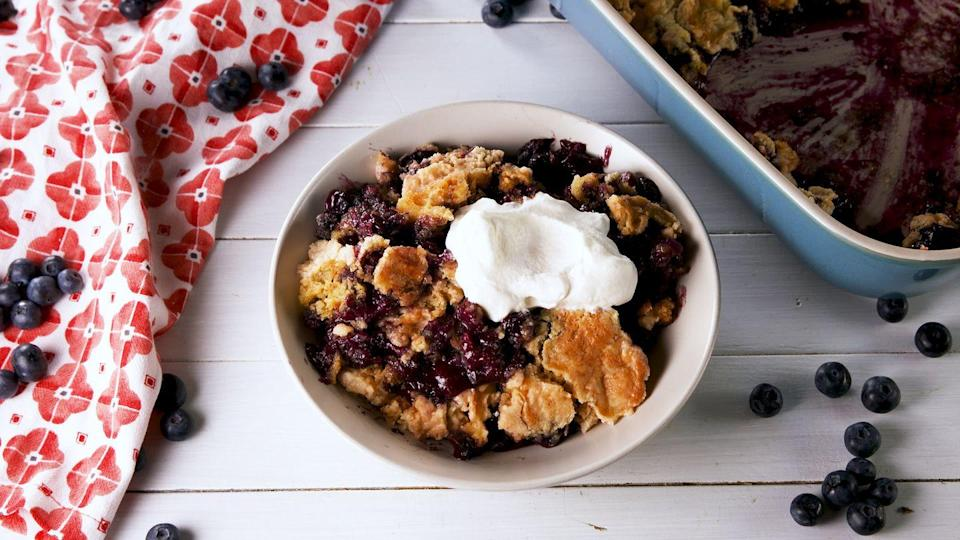 "<p>Mmm, we can smell the blueberries from here. </p><p>Get the recipe from <a href=""https://www.delish.com/cooking/recipe-ideas/a27495988/blueberry-dump-cake-recipe/"" rel=""nofollow noopener"" target=""_blank"" data-ylk=""slk:Delish"" class=""link rapid-noclick-resp"">Delish</a>.</p>"