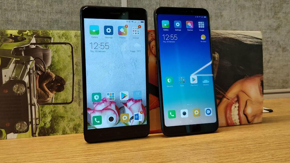 The Redmi Note 4 (left) sports a 16:9 screen while the Redmi Note 5(right) comes with an 18:9 screen