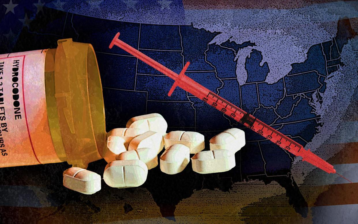 Americans consume a reported 80 percent of the world's opioid supply despite being only 4.6 percent of the global population. (Yahoo News photo illustration; photos: iStockphoto/Getty Images, Getty Images, AP[2])