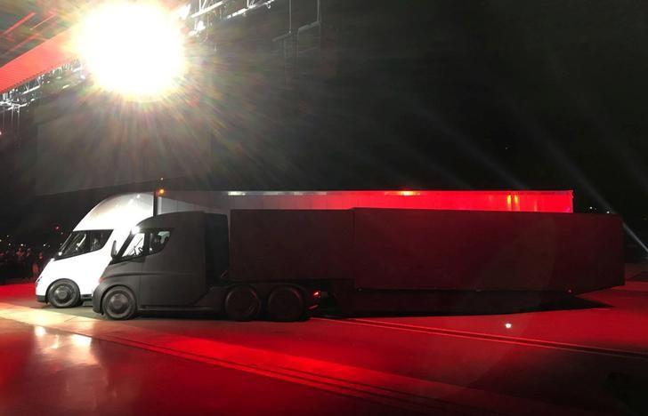 FILE PHOTO - Tesla's new electric semi truck is unveiled during a presentation in Hawthorne