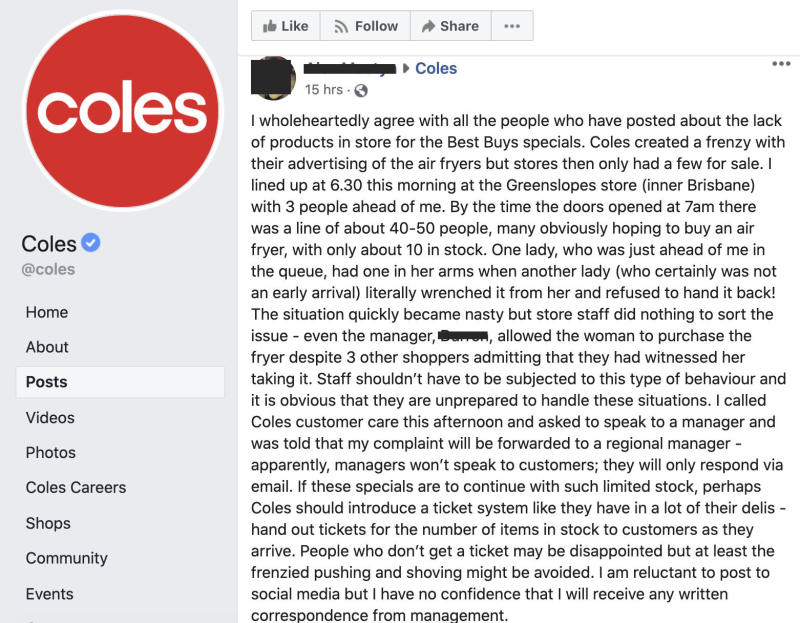 'Nasty' scenes and outraged shoppers as Coles air fryer sells out in seconds. Photo: Facebook.