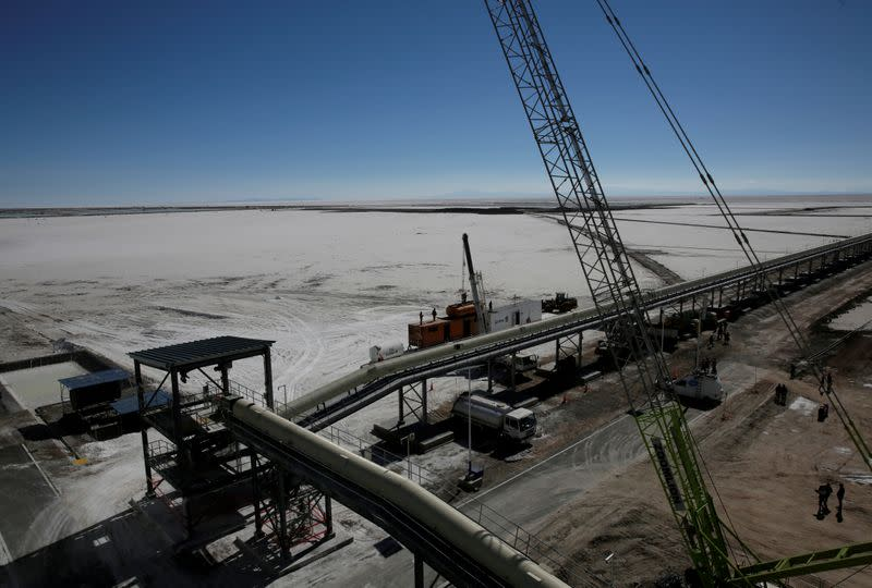 FILE PHOTO: A view of a portion of an industrial plant for potassium chloride, a product that is extracted from brine under a programme developed by Bolivia to produce lithium, before its inauguration in Llipi on the salt lake of Uyuni