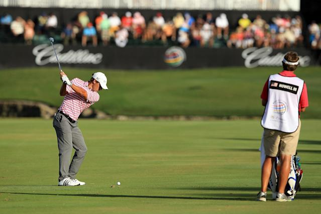 MIAMI, FL - MARCH 10: Charles Howell III of the USA plays his second shot at the par 4, 18th hole during the third round of the World Golf Championship Cadillac Championship on the TPC Blue Monster Course at Doral Golf Resort And Spa on March 10, 2012 in Miami, Florida. (Photo by David Cannon/Getty Images)