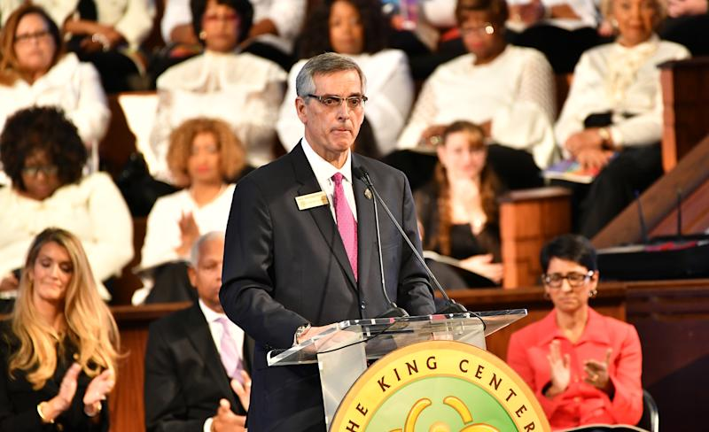 Brad Raffensperger, Georgia Secretary of State speaks onstage during 2020 Martin Luther King, Jr. Commemorative Service at Ebenezer Baptist Church on January 20, 2020 in Atlanta, Georgia. (Paras Griffin/Getty Images)