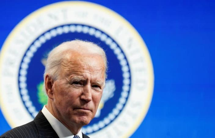 U.S. President Biden speaks about his administration's plans to strengten American manufacturing at the White House in Washington
