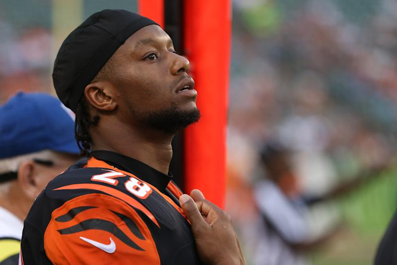 CINCINNATI, OH - AUGUST 22: Cincinnati Bengals running back Joe Mixon (28) looks at the scoreboard during the preseason game against the New York Giants and the Cincinnati Bengals on August 22nd 2019, at Paul Brown Stadium in Cincinnati, OH. (Photo by Ian Johnson/Icon Sportswire via Getty Images)
