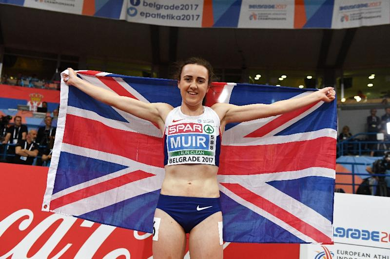 Britain's Laura Muir celebrates after winning the women's 3000m final at the 2017 European Athletics Indoor Championships in Belgrade on March 5, 2017
