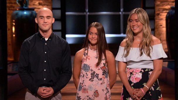 PHOTO: Kaley, Christian and Keira Young turned their dad Keith Young's cutting board product into an irresistible investment opportunity for all five sharks; each invested in the Cup Board Pro in 2018. (ABC's 'Shark Tank')