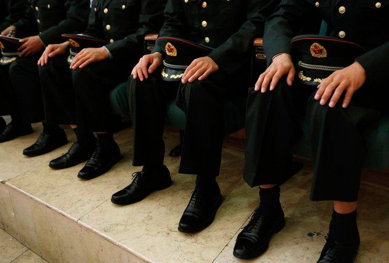 Cadets at the People's Liberation Army (PLA) Engineering Academy of Armored Forces in Beijing on September 19, 2012