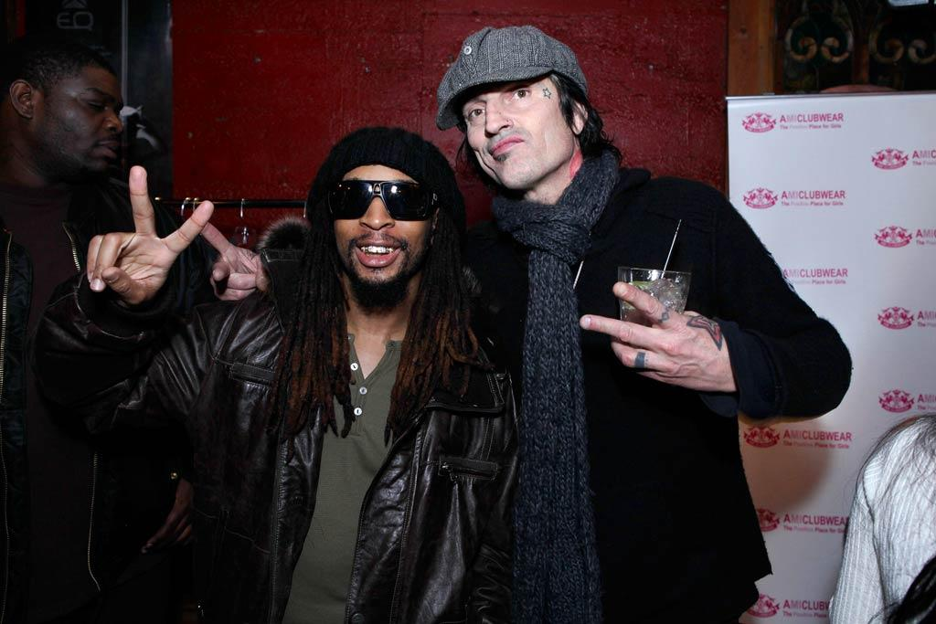 "Later, the Motley Crue drummer caught up with rapper Lil Jon at the same soiree. Tiffany Rose/<a href=""http://www.wireimage.com"" target=""new"">WireImage.com</a> - January 22, 2011"