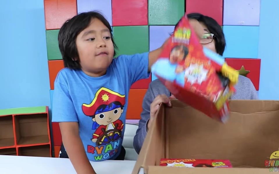 A toy 'unboxing video on the Ryan's World YouTube channel - YouTube