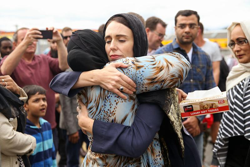 Prime Minister Jacinda Ardern hugs a mosque-goer at the Kilbirnie Mosque in Wellington, New Zealand on March 17, 2019.