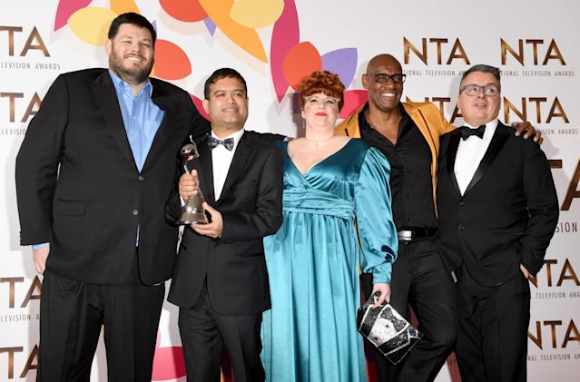 Mark Labbett, Paul Sinha, Jenny Ryan, Shaun Wallace and guest at the National Television Awards (Stuart C. Wilson/Getty Images)