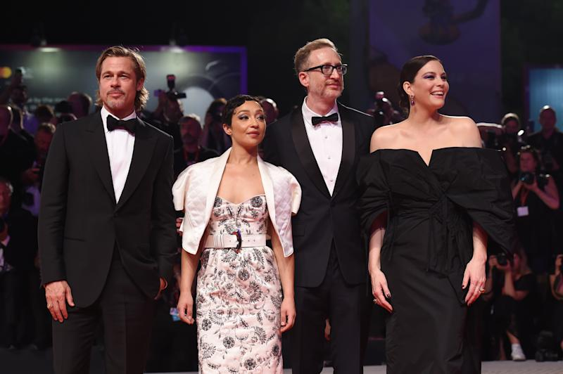 "VENICE, ITALY - AUGUST 29: (R-L) Liv Tyler, Director James Gray, Ruth Negga and Brad Pitt walk the red carpet ahead of the ""Ad Astra"" screening during during the 76th Venice Film Festival at Sala Grande on August 29, 2019 in Venice, Italy. (Photo by Stefania D'Alessandro/WireImage,)"