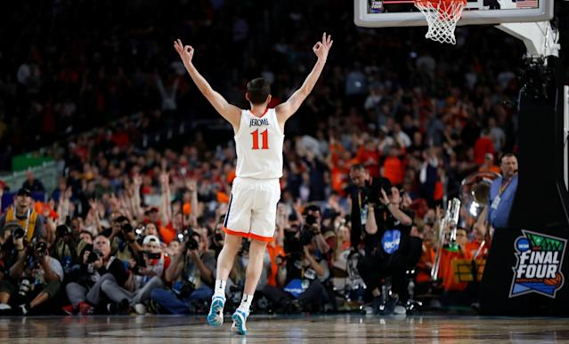 Virginia's Ty Jerome reacts after shooting a 3-point basket during the national championship against Texas Tech. (AP Photo/Jeff Roberson)