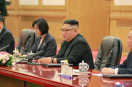 North Korean leader Kim Jong Un speaks during a meeting with Chinese President Xi Jinping (not pictured) in Beijing, China, in this undated photo released June 20, 2018 by North Korea's Korean Central News Agency. KCNA via REUTERS