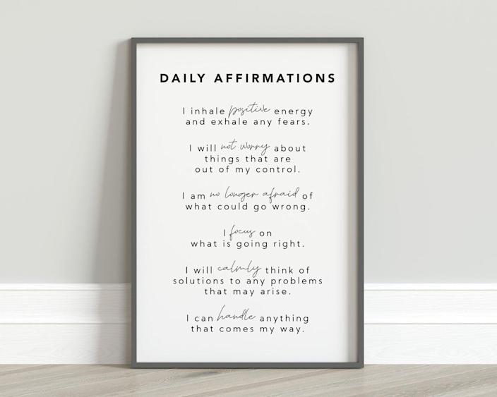 <p>Make it a habit to soak in the <span>Daily Affirmations Wall Art</span> ($3) first thing in the morning.</p>