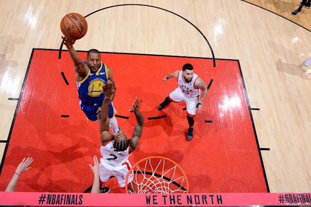 Andre Iguodala suffered a leg injury in the final minutes of Golden State's Game 1 loss on Thursday. (Jesse D. Garrabrant/Getty Images)