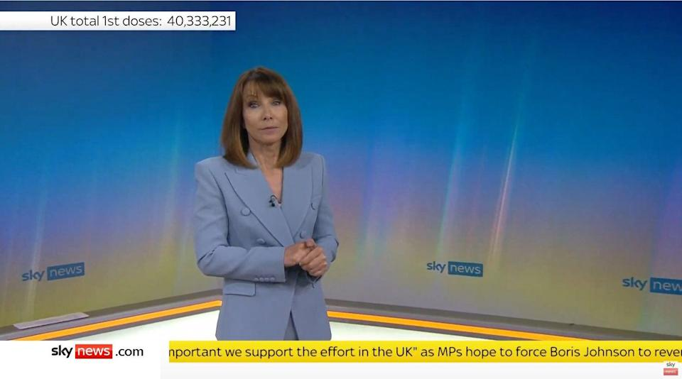 <p>Sky News presenter Kay Burley has returned to work after a six-month suspension for breaking Covid-19 rules</p> (Sky News/PA)