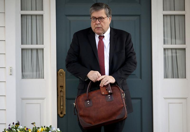 U.S. Attorney General William Barr departs his home on March 22, 2019, in McLean, Virginia, the same day he submitted a letter to Congress confirming he received Robert Mueller's report.