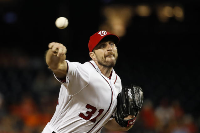 Washington Nationals starting pitcher Max Scherzer throws during the fourth inning of the team's baseball game against the Baltimore Orioles at Nationals Park Wednesday, Aug. 28, 2019, in Washington. (AP Photo/Alex Brandon)