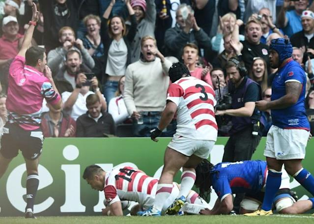 Akihito Yamada scored in the victory over Samoa at the Rugby World Cup four years ago (AFP Photo/DAMIEN MEYER)