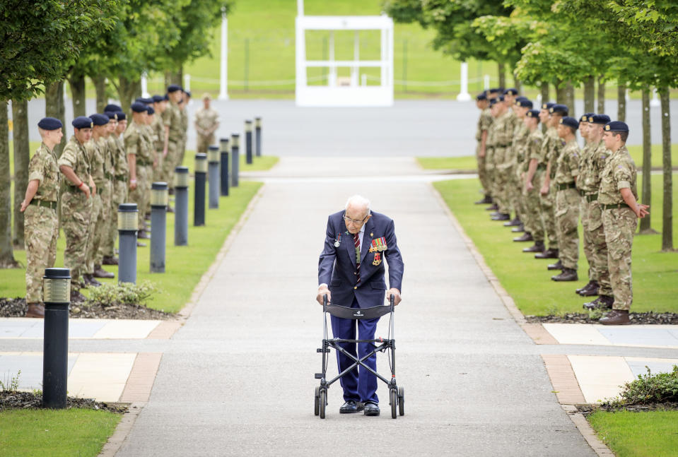 Captain Sir Tom Moore walks down a guard of honour during a visit to the Army Foundation College in Harrogate, North Yorkshire as part of his new role as Honorary Colonel of the Northern military training establishment. (Photo by Danny Lawson/PA Images via Getty Images)